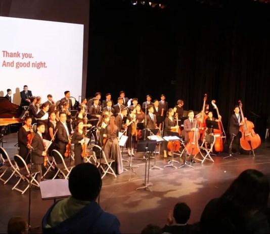 The Jose De Piro Kabataan Orchestra performing at the Caroline Chisholm Catholic College, Braybrook, Victoria.