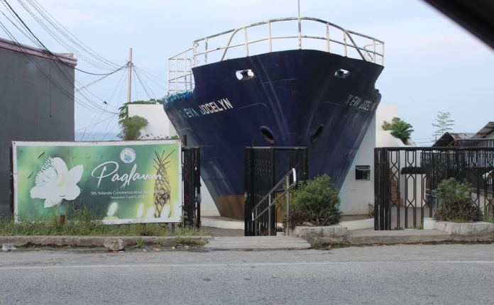 The boat that was washed ashore is now a memorial now called the M/V Eva Jocelyn Shrine