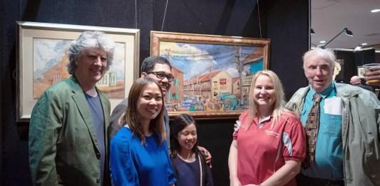 (L-R) Deputy Mayor Christopher Gordon, Filipino Consul Emmanuel D.K. Guzman, wife Gene, daughter Maya, Ms. Anita (principal sponsor Bendigo Bank), David Johnson (artist)