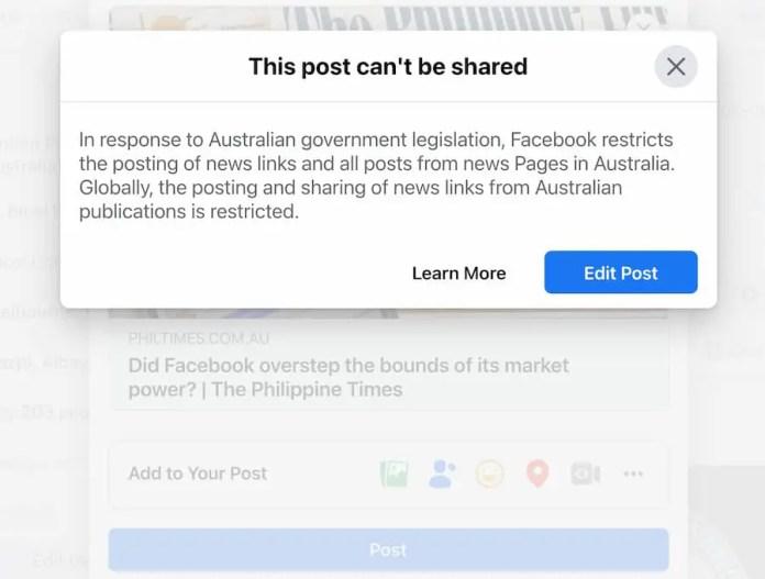 Facebook blocked sharing