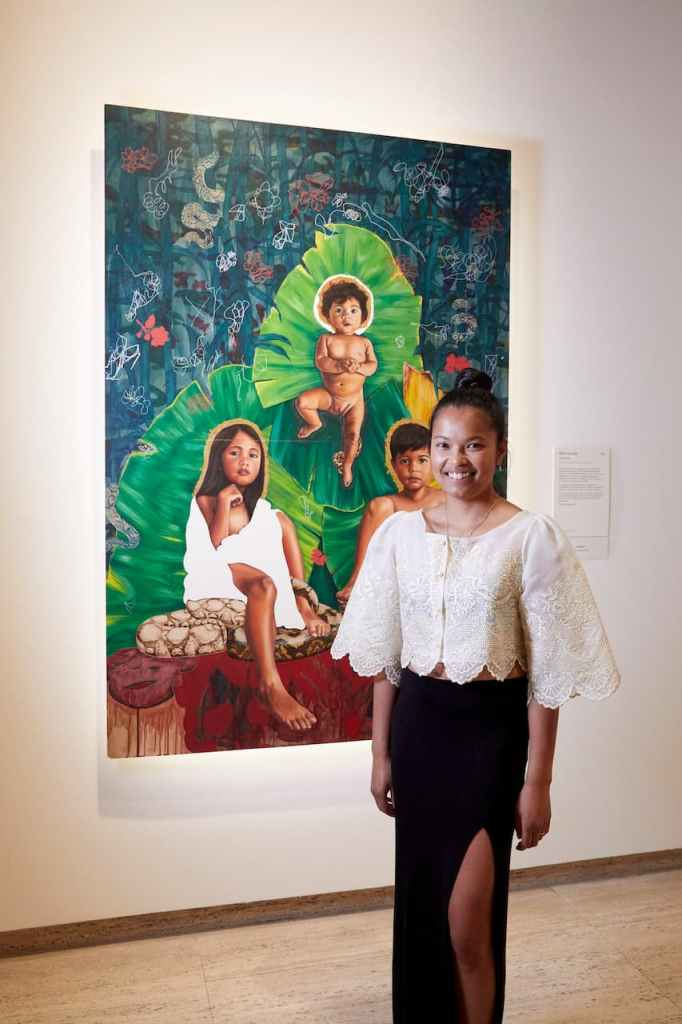 Marikit Santiago with her piece 'The Divine' that was awarded the Sir John Sulman Prize.  PHOTO CREDIT: Jenni Carter for Art Gallery of NSW