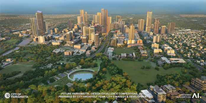 Design of the future Parramatta CBD skyline. It includes potential future buildings that have won Design Excellence Awards, This gives a glimpse into the City's future.