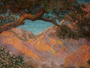"Detail of the Tiffany Mosaic of Maxfield Parrish's ""Dream Garden""."