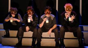 """The """"Droogs"""" at the Milkbar (l to r: Katie Gould, Shamus Hunter McCarty, Kevin Rodden, and Alan Holmes as Alex) in Luna Theater Company's A CLOCKWORK ORANGE (Photo credit: Aaron J. Oster)"""