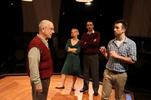 Benjamin Lovell, Mary Tuomanen, John Jarboe, and Wes Haskell in Theatre Exile's COCK (Photo caption: Paola Nogueras)