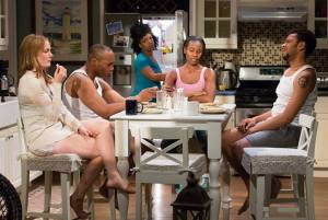 "L-R: Julianna Zinkel as Kimber, U.R. as Flip LeVay, Jessica Frances Dukes as Taylor, Joniece Abott-Pratt as Cheryl, and Biko Eisen-Martin as Kent ""Spoon"" LeVay in Arden Theatre Company's production of Stick Fly. Photo by Mark Garvin."