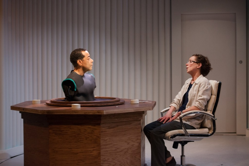 Frank X and Sally Mercer in InterAct's UNCANNY VALLEY (Photo credit: Plate 3 Photography)