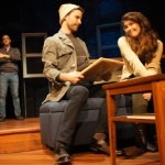 Trent Blanton (background left), Andy Phelan, and Jessica DalCanton in Passage Theatre Company's THE GOLDILOCKS ZONE (Photo credit: Michael Goldstein)