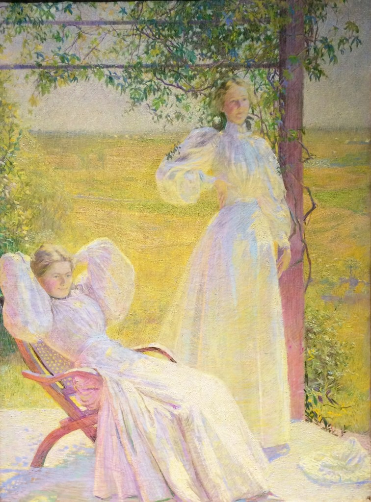 Top of the Morning by Philip Leslie Hale depicts two women relaxing in rare form