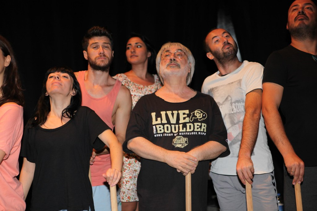 Antonio Fava and his students getting into Commedia mode