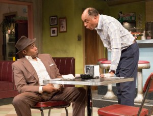 U.R. as Sterling and Johnnie Hobbs, Jr. as Memphis in Arden Theatre Company's production of Two Trains Running. Photo by Mark Garvin.