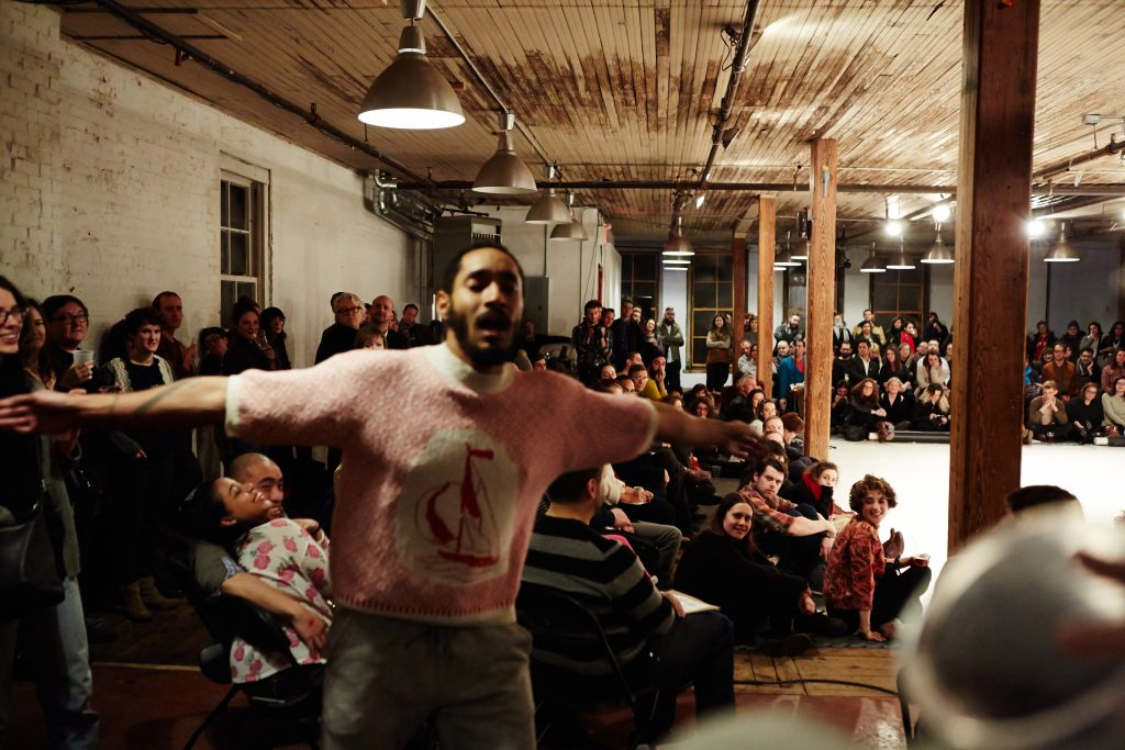 Choreographer-dancer Niall Jones performs at a CATCH event in Brooklyn. Photo by Arion Doerr.