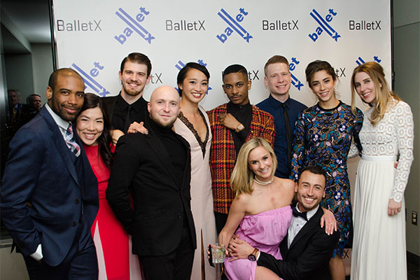 Members of BALLETX at the Premier Party (L to R): Gary W. Jeter II, Andrea Yorita, Zachary Kapeluck, R. Colby Damon, Caili Quan, Roderick Phifer, Skyler Lubin, Daniel Mayo, Richard Villaverde, Francesca Forcella, Megan Dickinson. Photo by Kevin Wallace.