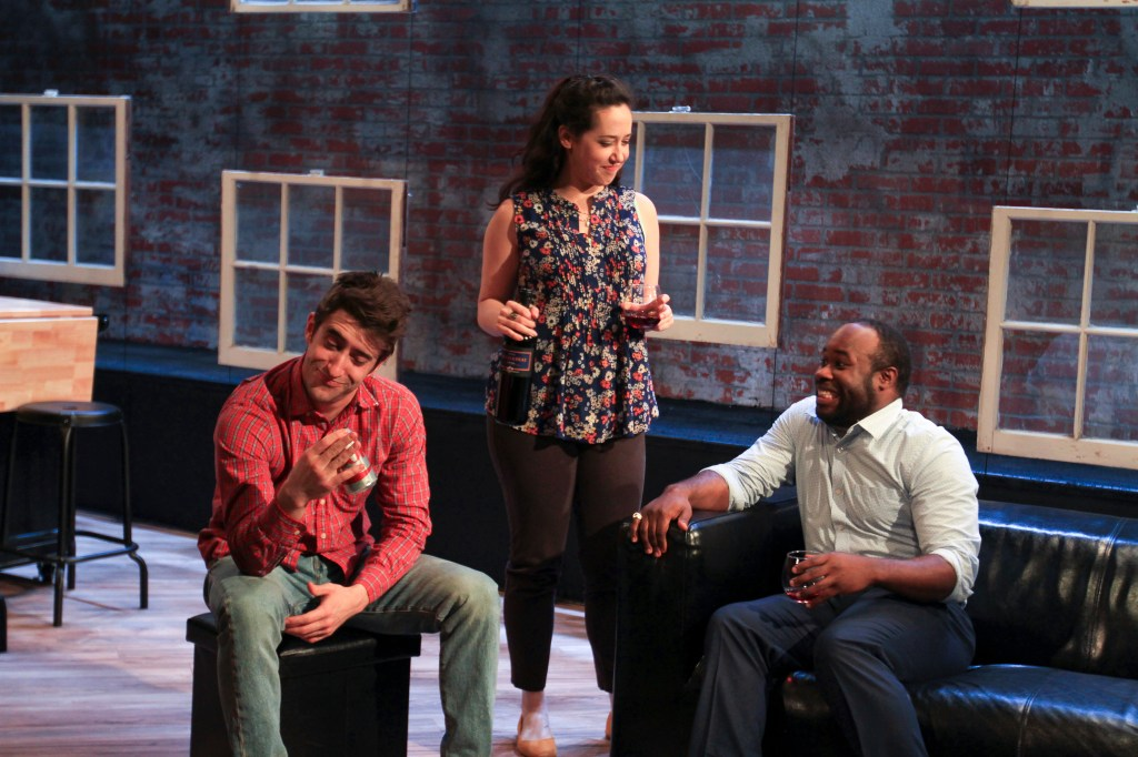 Matteo Scamell (Don), Alex Keiper (Suzy), and Akeem Davis (Jackson) in BUZZER. Photo by Paola Nogueras.
