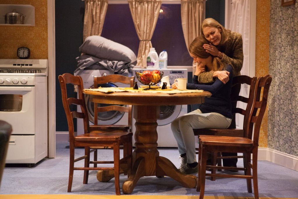 Margaret  (Nancy  Boykin)  comforts  daughter  Adele  (Amy  Frear)  in  Inis  Nua's  Our  Few  and  Evil  Days  by  Mark  O'Rowe.  Photo  credit:  Plate  3  Photography