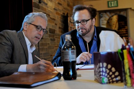 Donald Margulies discussing his script with Bart DeLorenzo. Photo courtesy This Stage Magazine