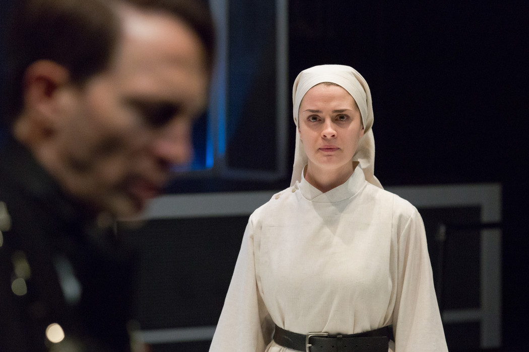 Ben Dibble and Claire Inie-Richards in Lantern Theater Company's production of MEASURE FOR MEASURE  by William Shakespeare, directed by Charles McMahon.  Photo by Mark Garvin.