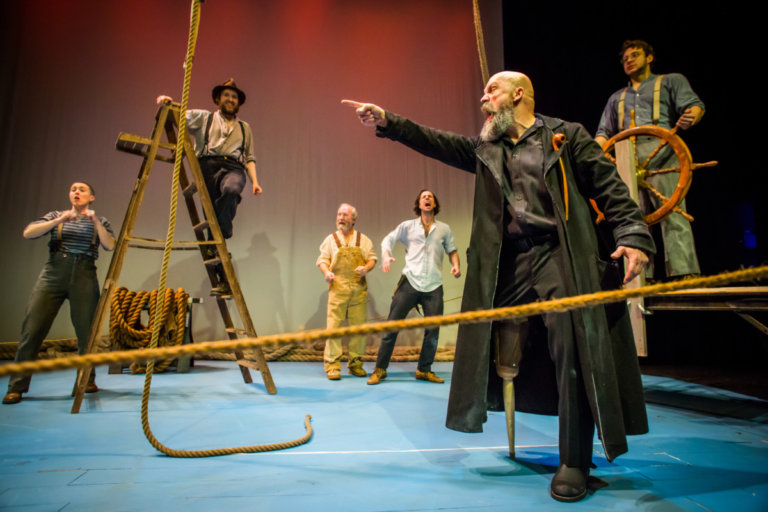 Robert Smythe (foreground) as Captain Ahab in MOBY-DICK. Photo by
