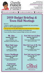Long description for 2019 Budget briefing & town hall meetings flyer Philadelphia City Council
