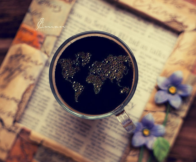 My Coffee cup speaks all languages of the world by Eman Alhwaishel