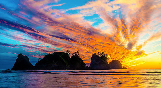Olympic National Park - Shi Shi Beach at Sunset by Josh Hoptay