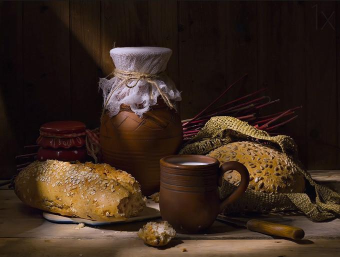 Still life with bread and milk by Svetlana L