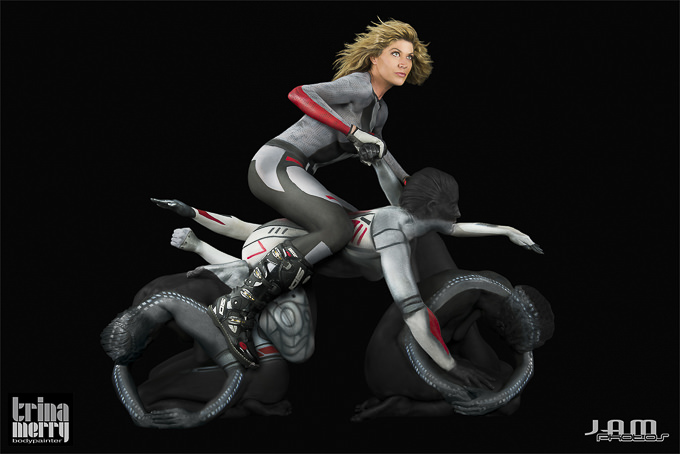 Human Motorcycle Body paint by Trina Merry