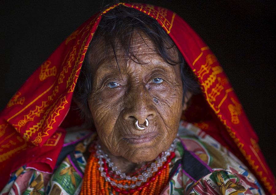 Panama, San Blas Islands, Mamitupu, Portrait Of An Old Kuna Tribe Woman by Eric Larfforgue