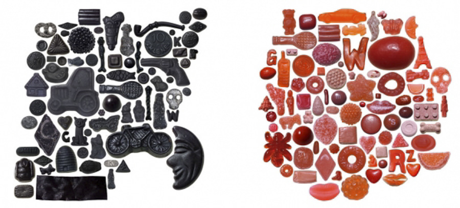 Eye Candy- Black Candies I and Red Candies I 2004 by craig kanarick
