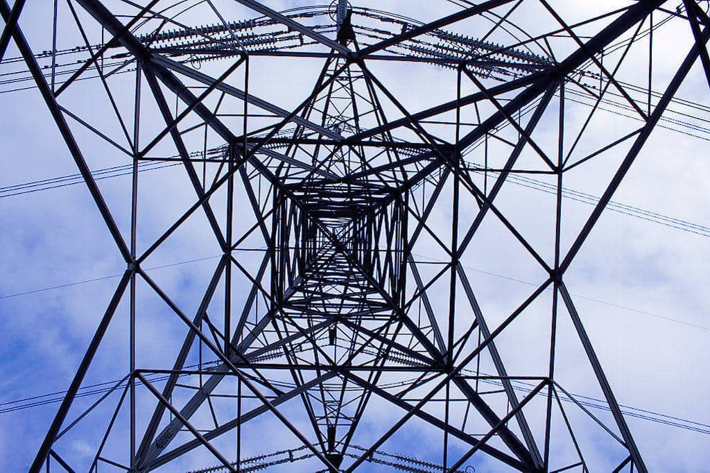 image from underneath elecriticity pylon