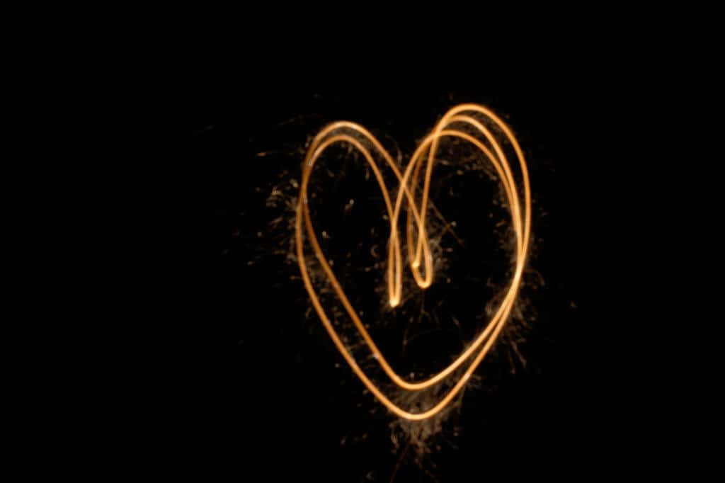 image of heart with sparkler