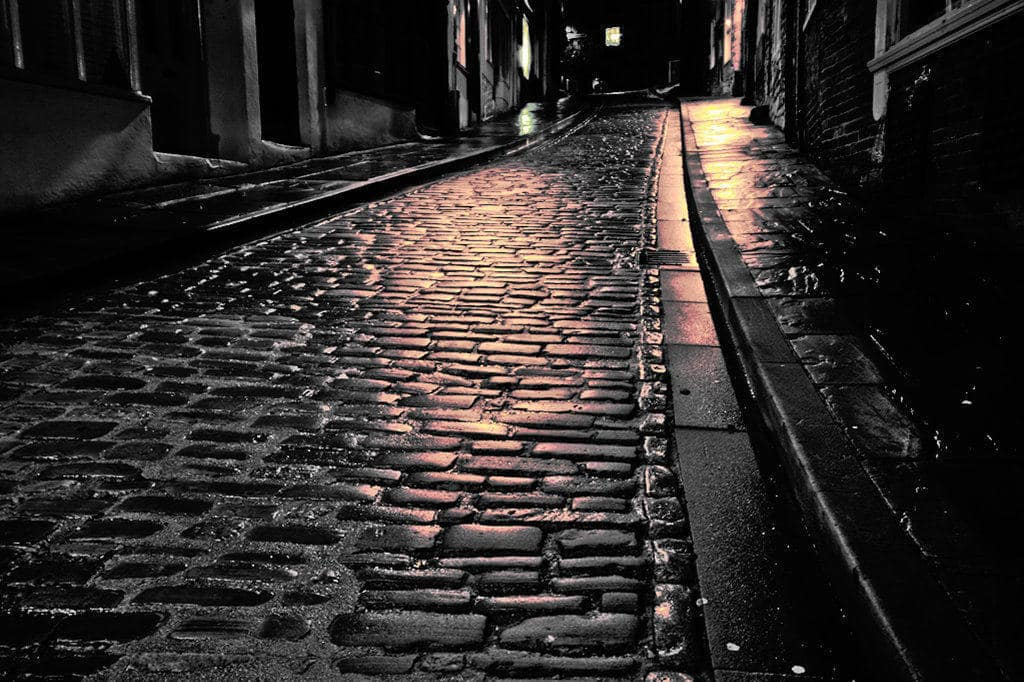 cobbled wet street of lincoln