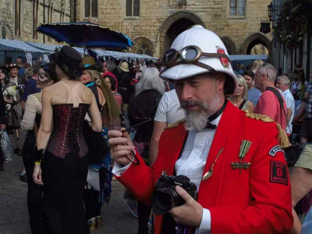 steampunk gentleman wearing old army outfit
