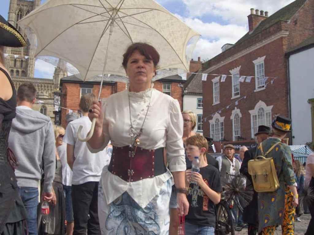 steampunk lady with umbrella