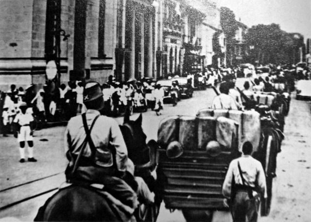 Japanse troepen in Saigon binnen 1941 (foto: Japanse leger/Public domain)