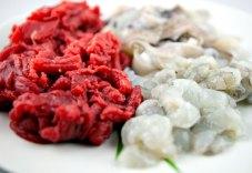 Drie soorten vlees bij fondue (foto: Pho Vietnam © Kim Le Cao)