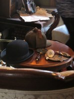 These hats and pipe are set out for visitors to use while posing for photos