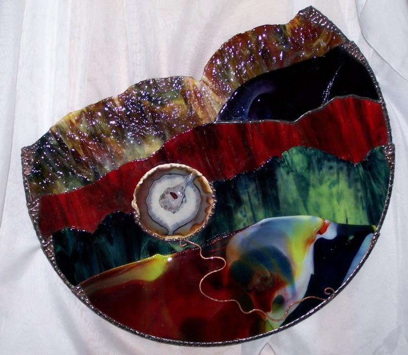 PhoenixArtGlass  Landscape Glass Tapestry  14x14