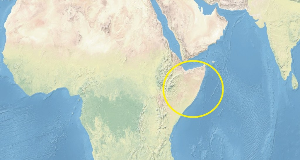 Map of northern Africa with Somalia circled