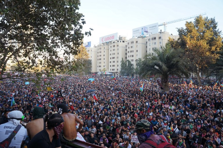 Protesters at Plaza Dignidad, Santiago, Chile