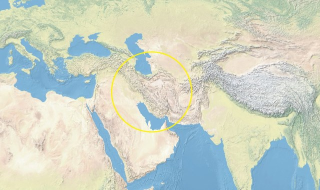 Map of Asia with Iran circled