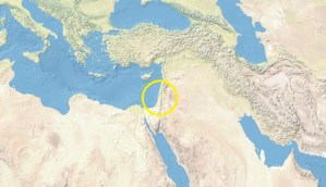 Map of Middle East with Israel and Palestine circled