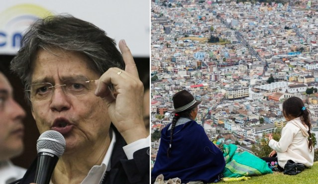Guillermo Lasso and two indigenous people looking out over a city in Ecuador