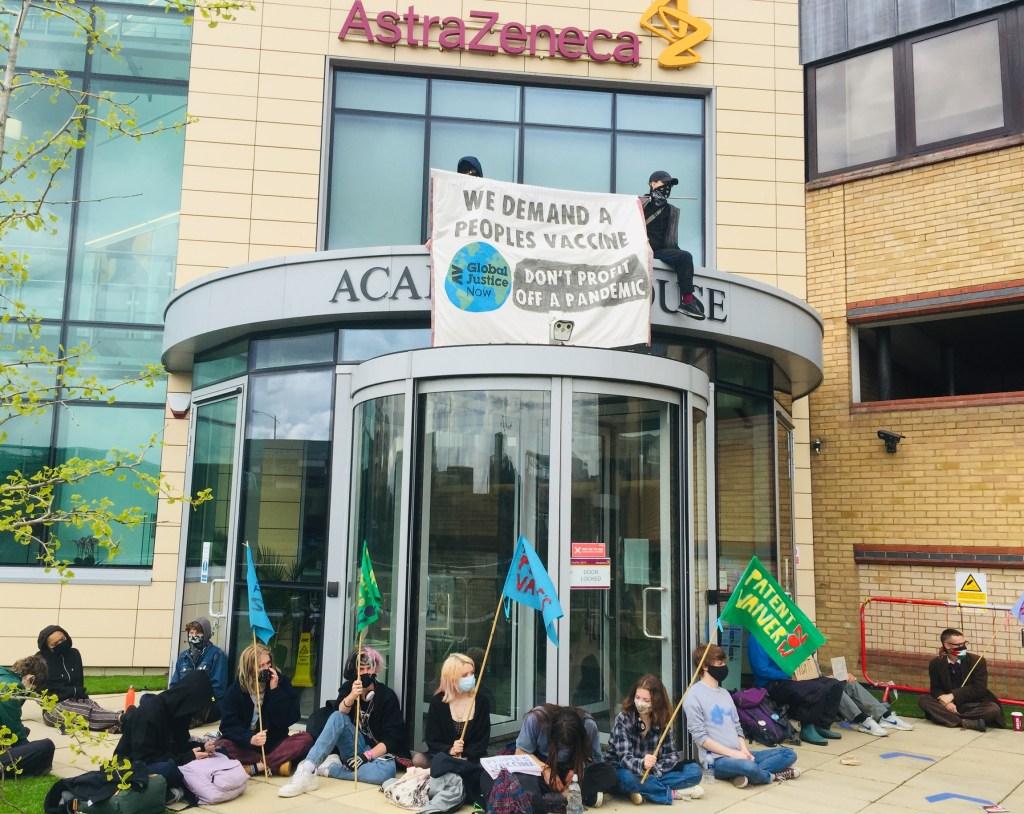 Vaccine inequality protest at AstraZeneca HQ