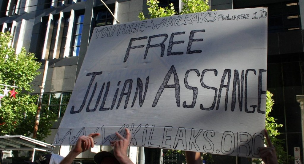 'Free Julian Assange' placard