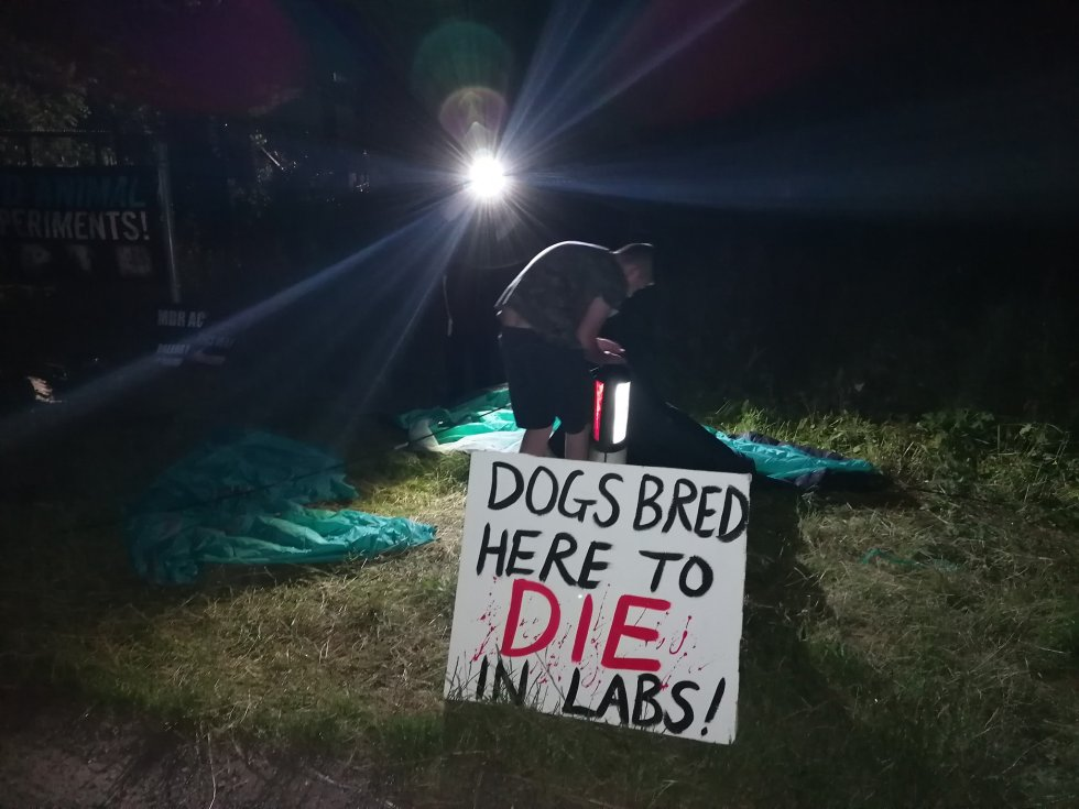 """A placard that reads """"Dogs bred here to die in labs!"""""""