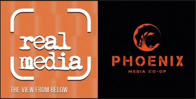 Real Media logo and Phoenix Media Co-op logo side by side