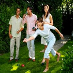 Playing Bocce Ball Outdoors