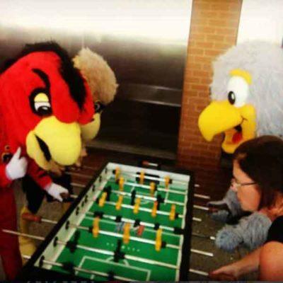 Atlanta Mascots Playing Foosball at Mixer