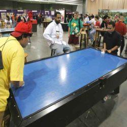 Playing Air Hockey Table